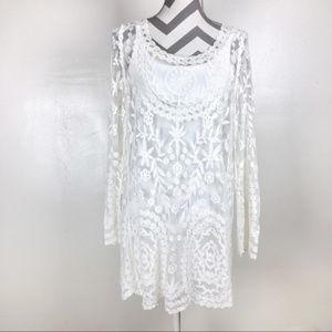 Dresses & Skirts - White lace tunic mini dress beach coverup | M/L